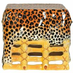 Vintage Glazed Ceramic Faux Bamboo and Cheetah Garden Bench