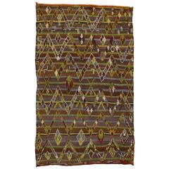 Vintage Berber Moroccan Kilim Rug with High-Low Pile