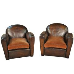Sensational Pair of French Art Deco Leather Club Chairs