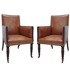 Pair of Fine Regency Style Mahogany Library Bergeres