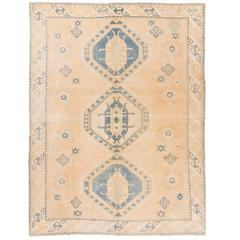 Vintage Anatolian Wool Rug in Cream and Light Blue Colors