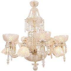 Mid-Late 1800s Combination Gas or Electric Crystal Chandelier