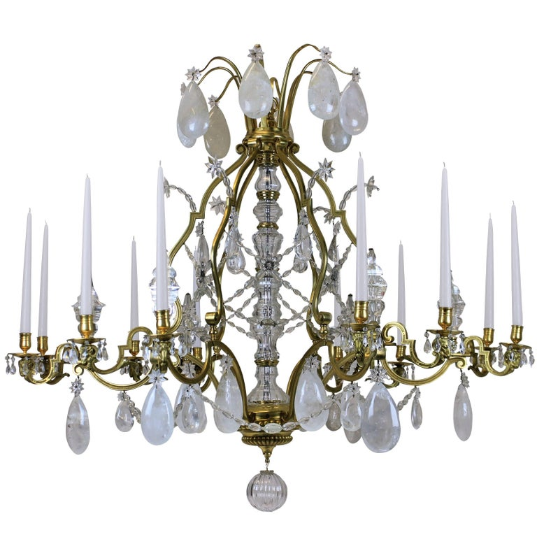 Large Louis XIV Gilt Bronze and Rock Crystal Chandelier For Sale