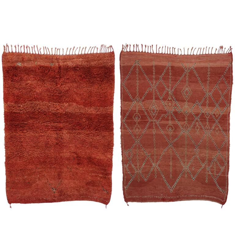 Mid Century Modern Style Red Berber Moroccan Rug With: Mid-Century Modern Vintage Berber Moroccan Rug, Boho Chic