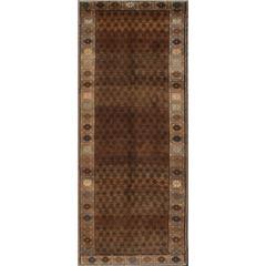 Vintage Turkish Kars Tribal Rug with All-Over Modern Design in Brown Colors