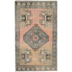 Pink Anatolian Vintage Rugs, Small Turkish Rugs Floor Mats and Door Mat