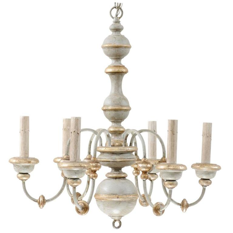 Italian painted wood chandelier with pretty light bluegrey gold and italian painted wood chandelier with pretty light bluegrey gold and silver hues for sale aloadofball Image collections
