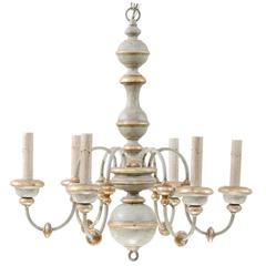 Italian Painted Wood Chandelier with Pretty Light Blue/Grey Gold and Silver Hues