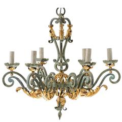 Elegant French Verdigris Six-Light Chandelier of Forged Iron with Gilt Accent