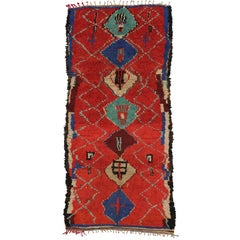 Vintage Berber Moroccan Rug with Tribal Style, Shag Hallway Runner