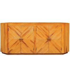 Fabulous Restored Vintage Bamboo Cabinet with Tulip Style Hardware