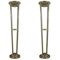 Pair of Vintage Art Deco / Machine Age Style Torchiere