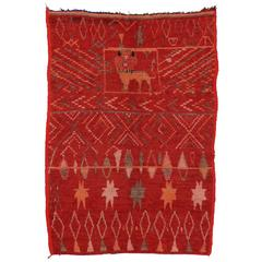 Mid-Century Modern Vintage Berber Moroccan Rug with Barbary Lion