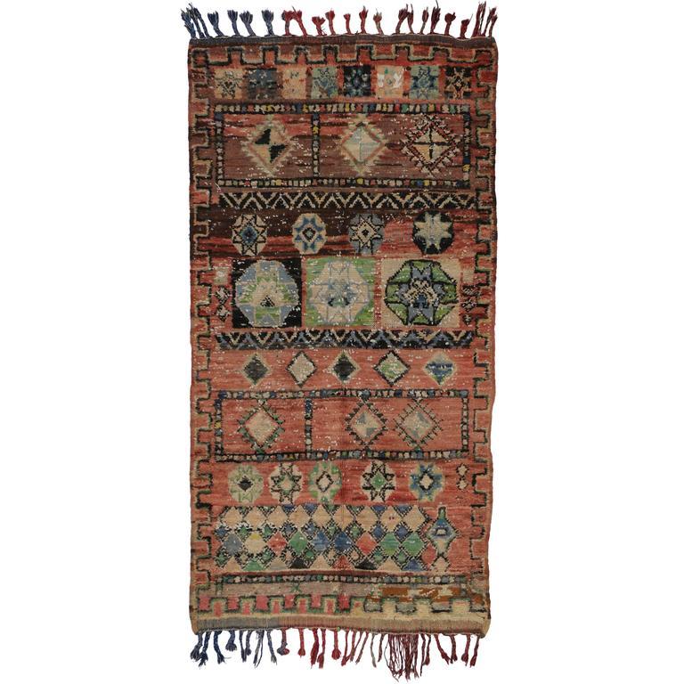 Mid-Century Modern Vintage Berber Moroccan Rug With Tribal