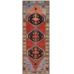 Unique and Colorful Turkish Oushak Rug with Multi-Layered Medallions & Cornices