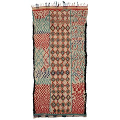 Vintage Moroccan Azilal Rug with Abstract Cubism Style, Berber Moroccan Runner