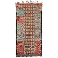 Mid-Century Modern Vintage Berber Moroccan Rug with Tribal Design
