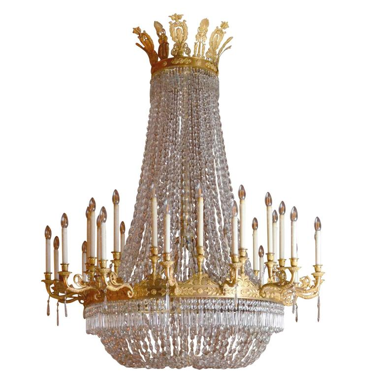 Large Empire Period Ormolu Chandelier For Sale