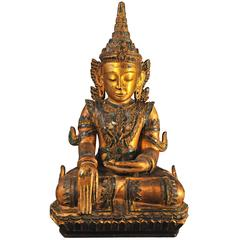 Early 19th Century, Gilt Lacquer with Glass Inlay Crowned Buddha, Thailand