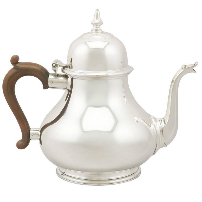 Vintage Sterling Silver Teapot, 1975 For Sale