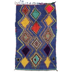 Boho Chic Vintage Moroccan Rug with Tribal Design, Blue Moroccan Rug