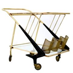 Wonderful Vintage Brass Serving Cart, Italy, 1950s