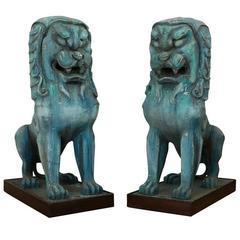 Pair of Gigantic Hollywood Prop Shishi Lions, circa 1950s