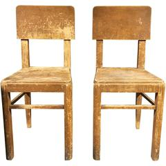 Pair of Primitive Wooden Chairs from Belgium