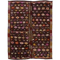 One of a Kind Anatolian Dowry Kilim, Vintage Flat-Weave Rug