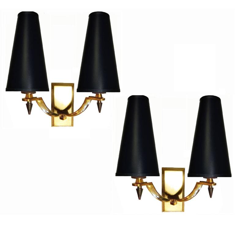 Pair of Very Elegant Two Patinas Sconces by Ateliers Petitot