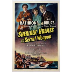 """""""Sherlock Holmes And The Secret Weapon"""" Film Poster, 1942"""