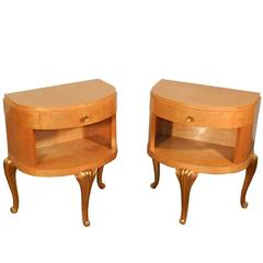 Maison Jansen, Pair of Art Deco Night Tables in Lemon Tree, circa 1940