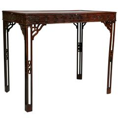 George III Mahogany Fret Carved Silver Table
