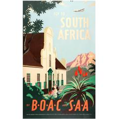 Original Vintage Travel Advertising Poster - Fly to South Africa by BOAC and SAA