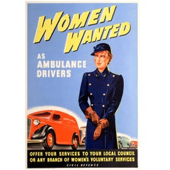 Original World War Two Civil Defence Poster - Women Wanted as Ambulance Drivers