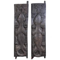 Pair of African Tribal Carved Door Panels