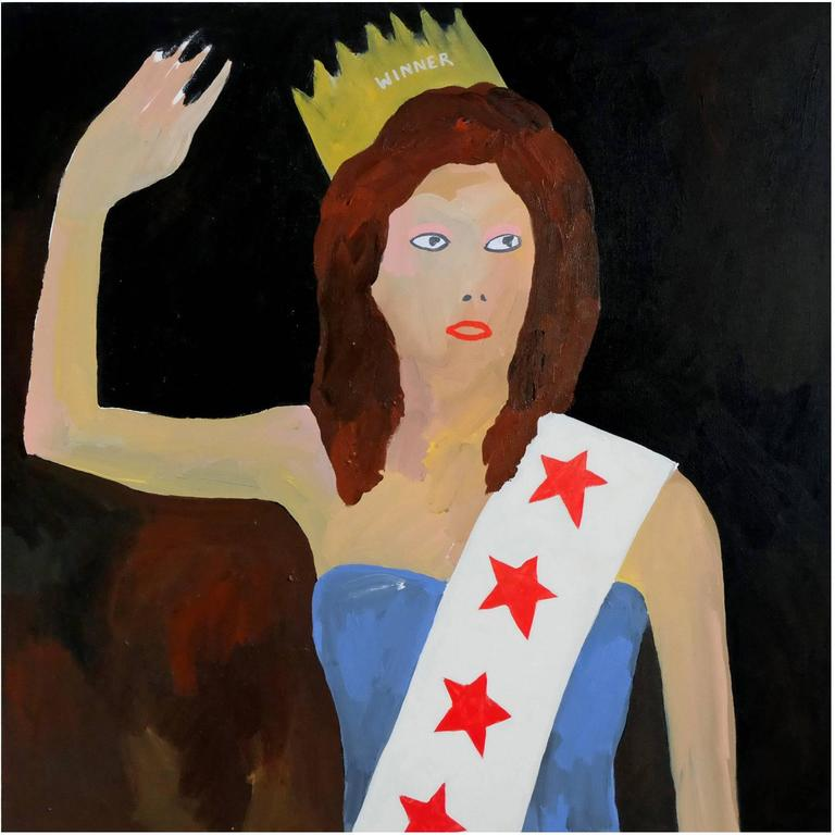 'Miss Waves 1994' Portrait Painting by Alan Fears Pop Art Beauty Queen For Sale