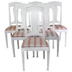 Set of Six Scandinavian Jugendstil Dining Chairs with Upholstered Seats