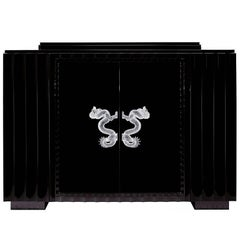Lalique Lacquered Dragon Bar with Crystal Door Handles