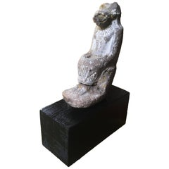 Ancient Egyptian Clay Statue of the Lion-Goddess Sekhmet Enthroned