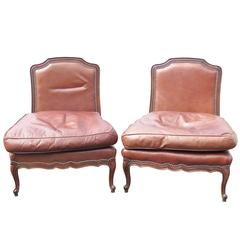 Pair of Old Hickory Brown Leather Slipper Chairs