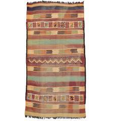 Vintage Berber Moroccan Kilim with Tribal Boho Chic Style, Flatweave Kilim Rug