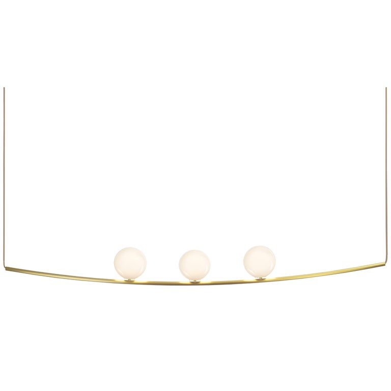 Perle 3 Pendant in Aged Brass with Handblown Glass Ball by Larose Guyon For Sale