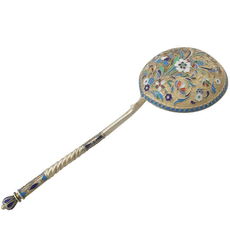 Antique Russian Silver Gilt and Polychrome Cloisonné Enamel Spoon