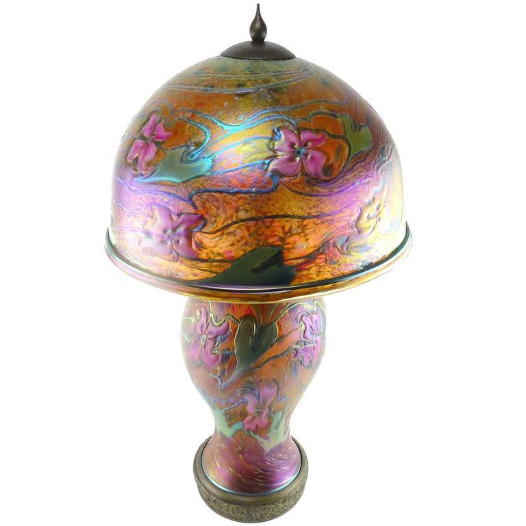 Charles Lotton Contemporary Studio Art Blown Glass Orange Pink Table Lamp At 1stdibs