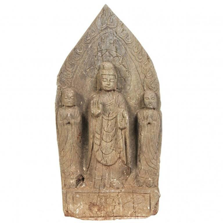Oriental Carved Stone Buddhist Stele For Sale