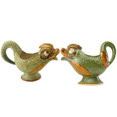 Matched Pair of English Staffordshire Pearlware Dolphin Cream Jugs, circa 1800