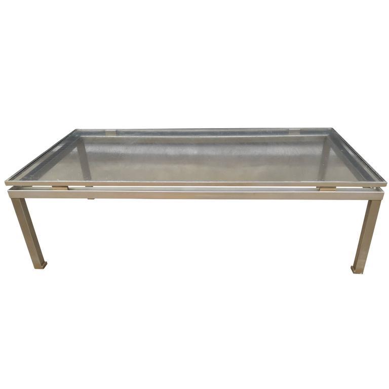 Modernist Brushed Steel Cocktail Table by Guy Lefevre for Maison Jansen