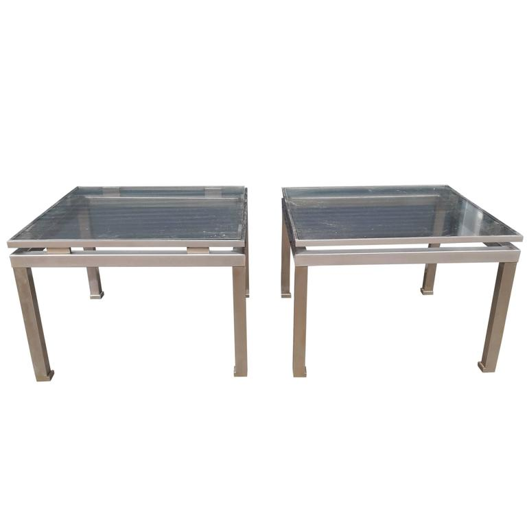 Pair of Brass and Steel Side Tables by Guy Lefevre for Maison Jansen