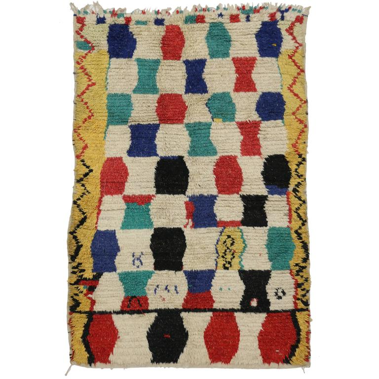 Mid-Century Modern Vintage Berber Moroccan Azilal Rug with Tribal Style